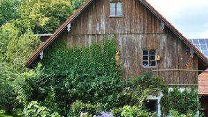 Altes Holzhaus mit üppigem Garten
