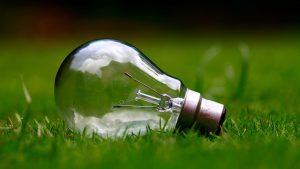 Eine stromfressende Glühbirne im Gras