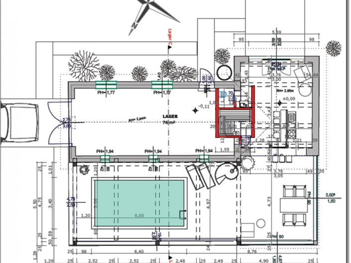 Umbau Schwimmhalle Edlach – Bauplan