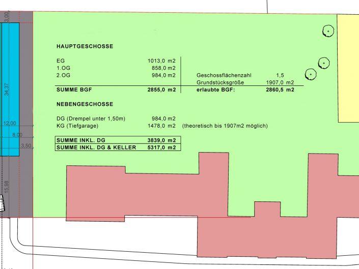 Bebauungsstudie – Flächenaufstellung