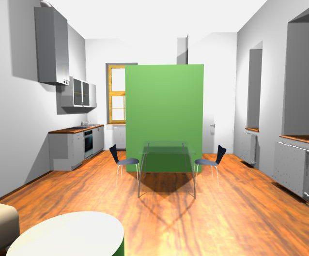 Sanierung Kleinwohnung – Visualisierung der Wohnküche