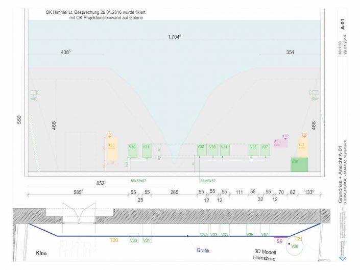 Ausstellung STONEHENGE – Bauplan der Projektionswand