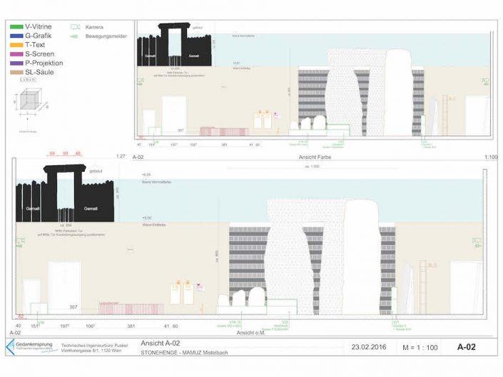Ausstellung STONEHENGE – Bauplan des Querschnittes der Ausstellungsräume