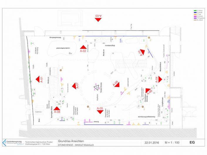 Ausstellung STONEHENGE – Bauplan mit Ansicht des Grundrisses