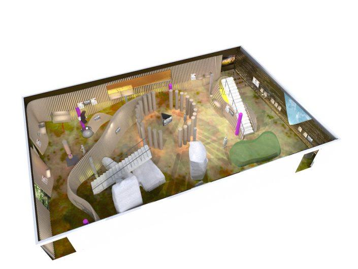 Ausstellung STONEHENGE – Visualisierung eines Ausstellungsraums in der Vogelperspektive