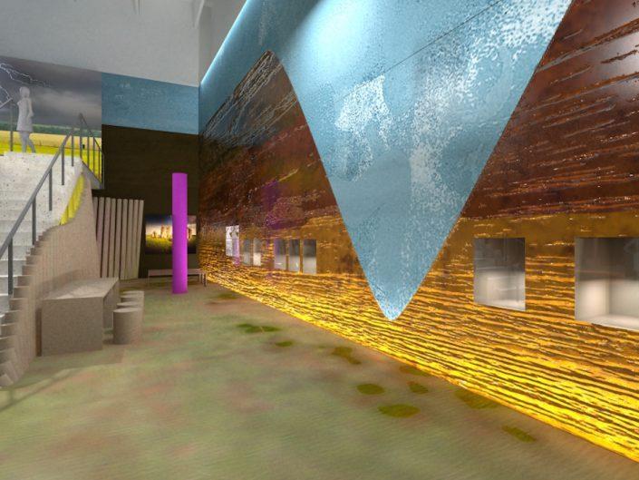Ausstellung STONEHENGE – Visualisierung von Wandpaneelen mit Schaukästen