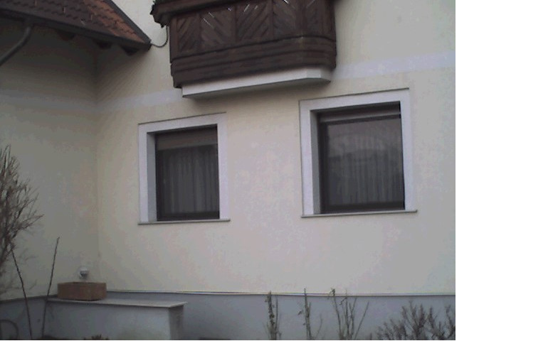 Außenfassade eines Einfamilienhauses mit zwei Fenstern