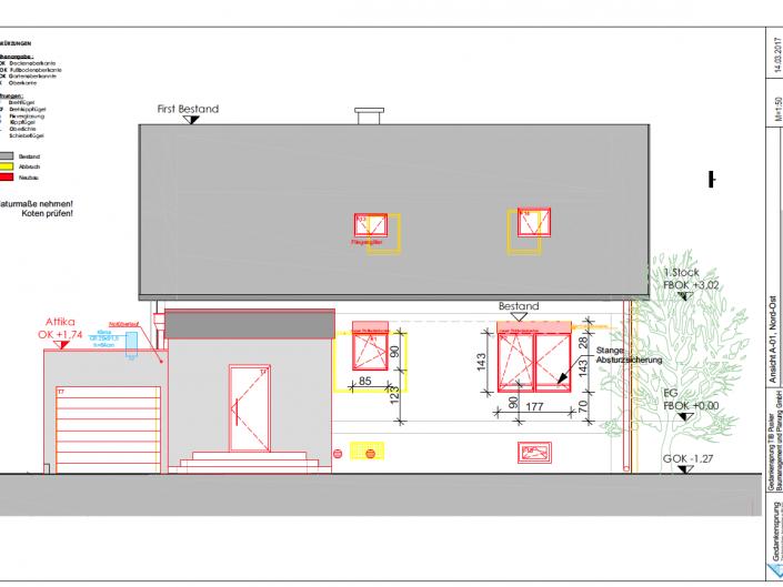 Umbau Einfamilienhaus Biedermannsdorf – Plan der Außenansicht