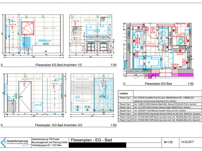 Umbau Einfamilienhaus Biedermannsdorf – Fliesenplan