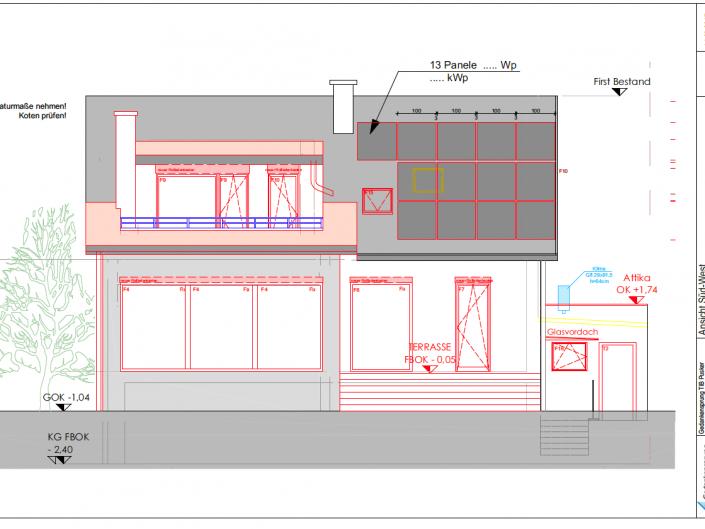 Umbau Einfamilienhaus Biedermannsdorf – Plan der Süd-West-Seite