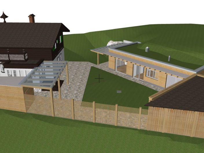 Visualisierung Projekt Dörfl – Gesamtansicht des Anbaus