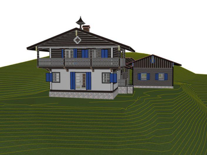 Visualisierung Projekt Dörfl – Rückansicht mit schematischer Darstellung des Gefälles