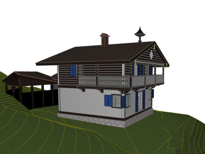 Visualisierung Projekt Dörfl – Seitenansicht mit schematischer Darstellung des Gefälles