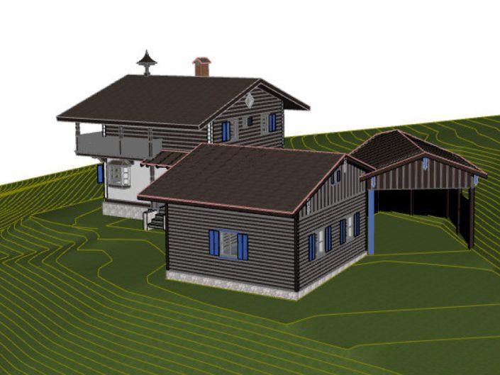 Visualisierung Projekt Dörfl – Vogelperspektive mit schematischer Darstellung des Gefälles