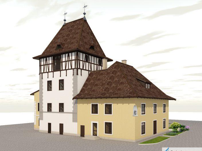 Umbau Waldorfschule Schönau – Visualisierung der Gebäuderückseite