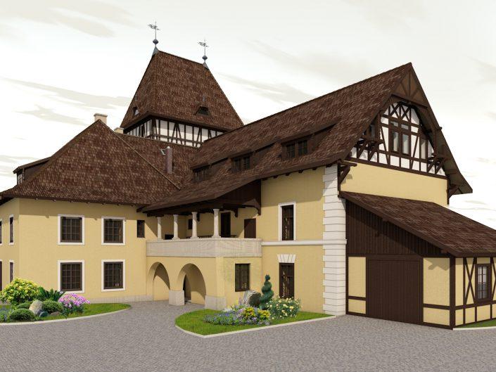 Umbau Waldorfschule Schönau – Visualisierung der Gebäudefront