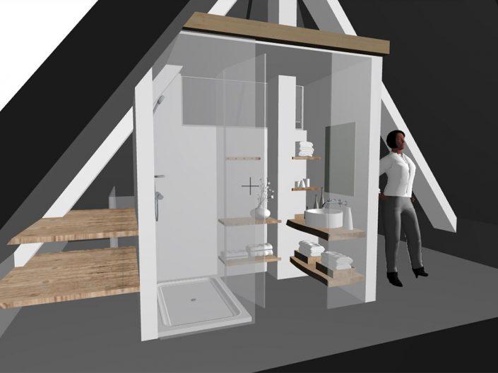 Wohnungsumbau Dornbacherstraße – Visualisierung des Badezimmers