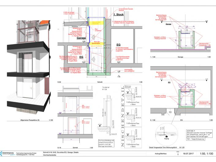 Wohnungsumbau Dornbacherstraße – Bauplan des Aufzugs