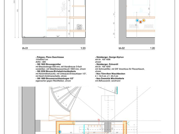 Wohnungsumbau Dornbacherstraße – Bauplan des Badezimmers