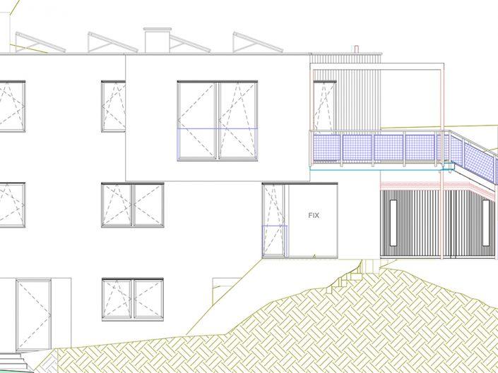 Einfamilienhaus Klosterneuburg – Plan der seitlichen Gesamtansicht