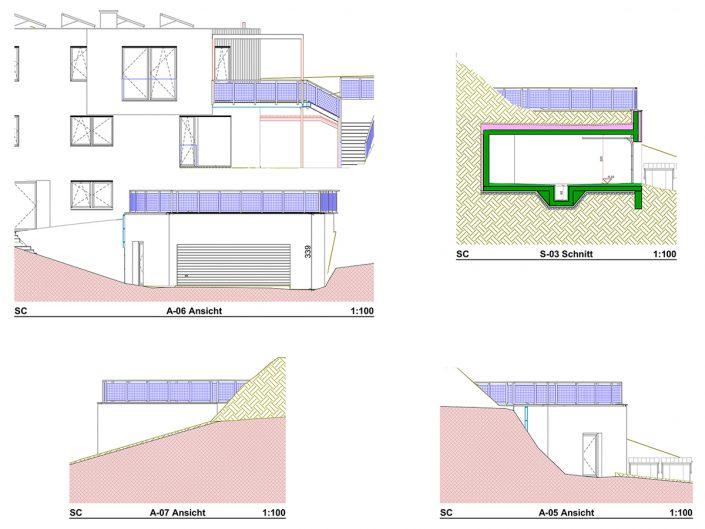 Einfamilienhaus Klosterneuburg – Plan diverser Seitenansichten