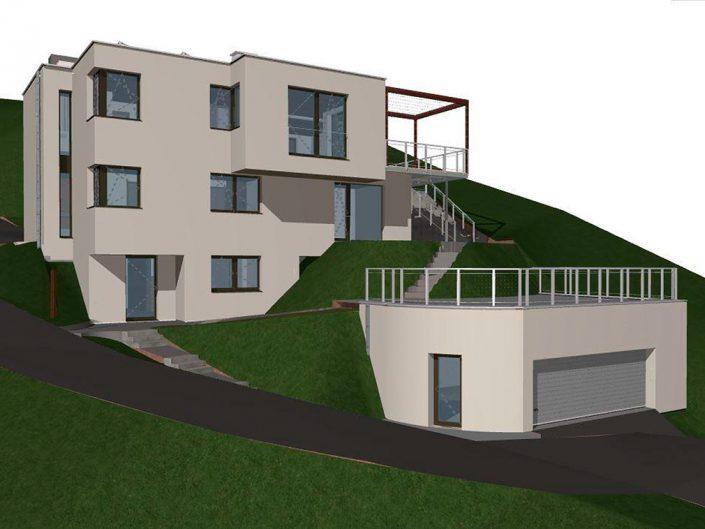 Einfamilienhaus Klosterneuburg – Visualisierung der Gesamtansicht mit Garage