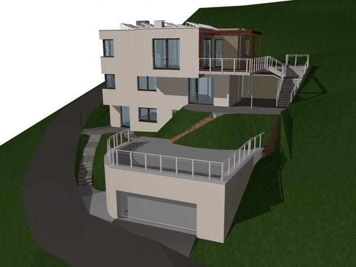 Einfamilienhaus Klosterneuburg – Visualisierung der Vorderansicht