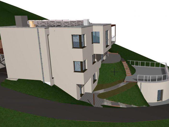 Einfamilienhaus Klosterneuburg – Visualisierung der seitlichen Ansicht