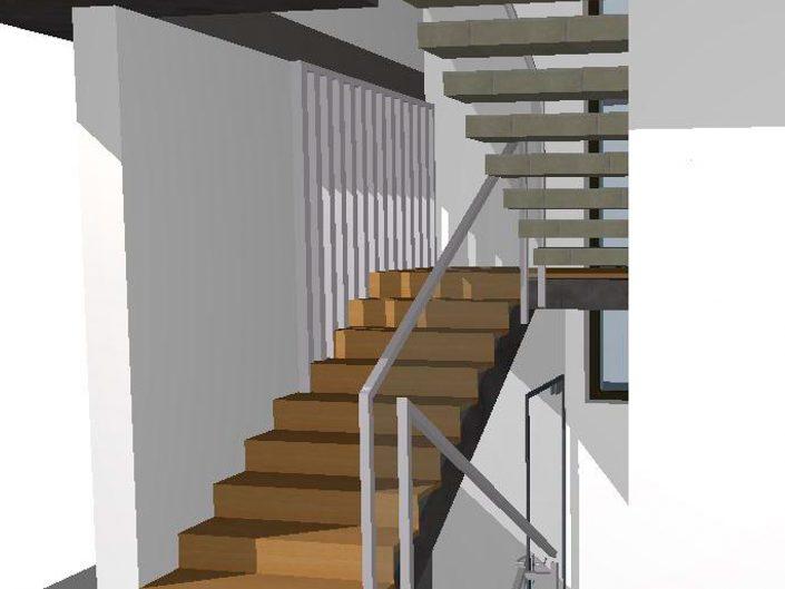 Einfamilienhaus Klosterneuburg – Visualisierung des Stiegenhauses