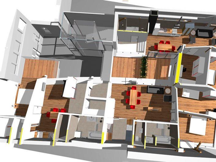 Schuhgeschäft Baden – Visualisierung des Dachgeschoßes in Gesamtansicht