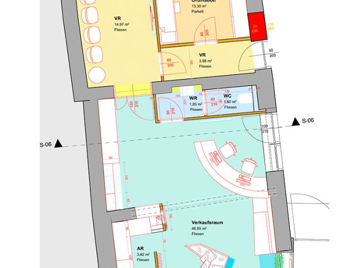 Schuhgeschäft Baden – Bauplan in Aufsicht