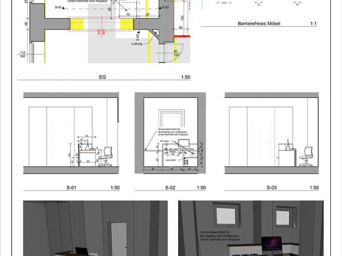 Bauplan für die Umbauarbeiten des Kassabereichs