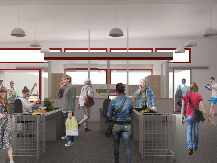 Visualisierung des neuen Kassabereichs im Sozialmarkt Ternitz