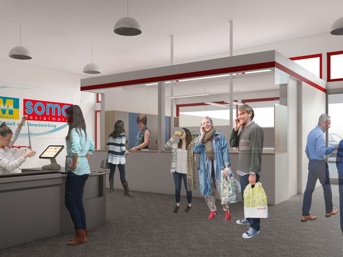 Visualisierung des neuen Marktleiterbüros im Sozialmarkt Ternitz