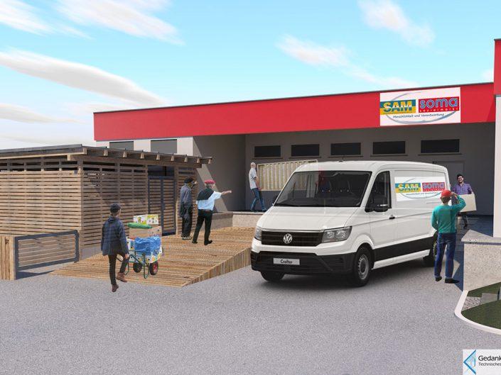 Visualisierung des neuen Müllraums beim Sozialmarkt Ternitz