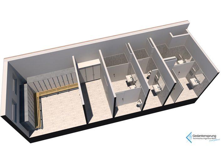 Visualisierung des neuen WCs im Sozialmarkt Ternitz