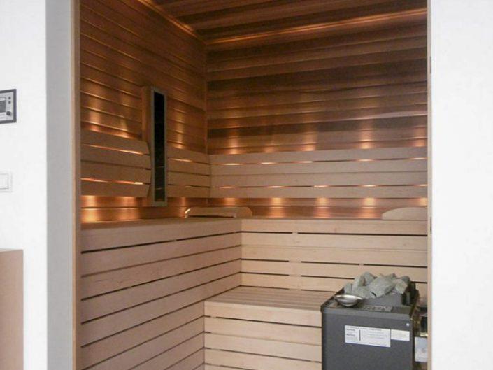Altbauwohnung in Hernals – Innenbereich der Sauna im Detail