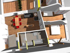 Visualisierung eines Wohnraumes aus der Vogelperspektive